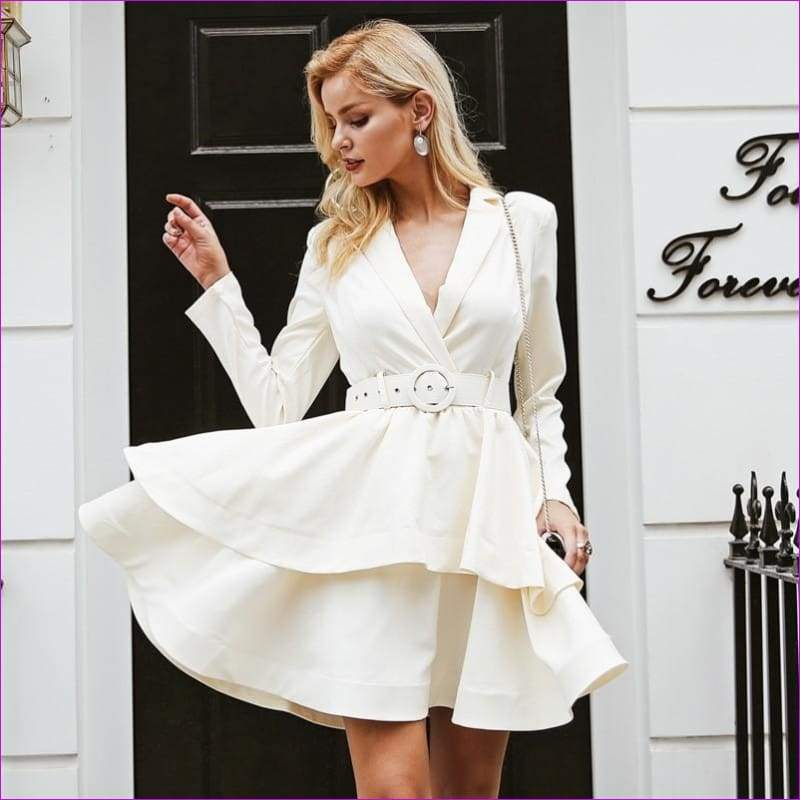 Ruffle turndown collar white dress Sash high waist women dress - Sexy Dresses