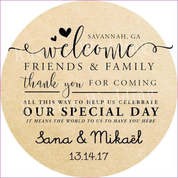 Rustic Design Favor Stickers,Welcome Customs Labels Mason Jar Label  Personalized Wedding Favor Gift Sticker
