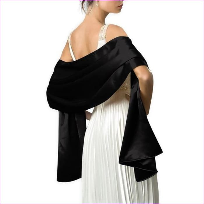 Satin Shawl Scarf for Evening Dresses 178*46 cm Long Colorful Shawls and Wraps - Black / One Size / Adult - Scarves cf-color-beige