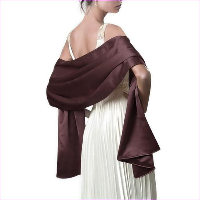 Satin Shawl Scarf for Evening Dresses 178*46 cm Long Colorful Shawls and Wraps - Brown / One Size / Adult - Scarves cf-color-beige