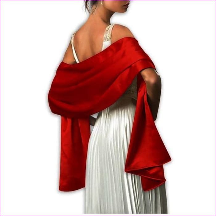 Satin Shawl Scarf for Evening Dresses 178*46 cm Long Colorful Shawls and Wraps - Burgundy / One Size / Adult - Scarves cf-color-beige
