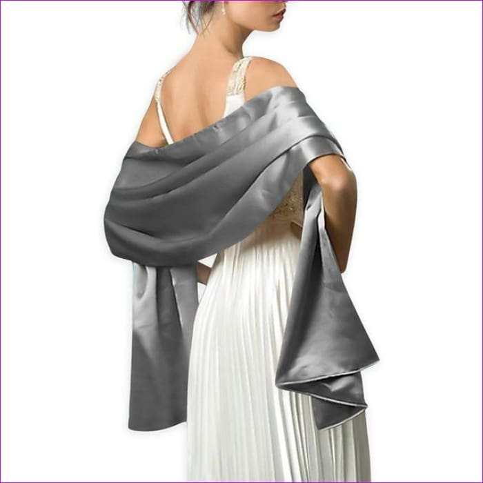 Satin Shawl Scarf for Evening Dresses 178*46 cm Long Colorful Shawls and Wraps - Dark Grey / One Size / Adult - Scarves cf-color-beige