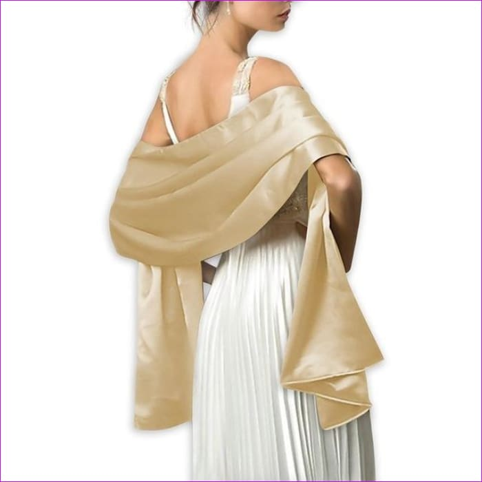 Satin Shawl Scarf for Evening Dresses 178*46 cm Long Colorful Shawls and Wraps - Gold / One Size / Adult - Scarves cf-color-beige