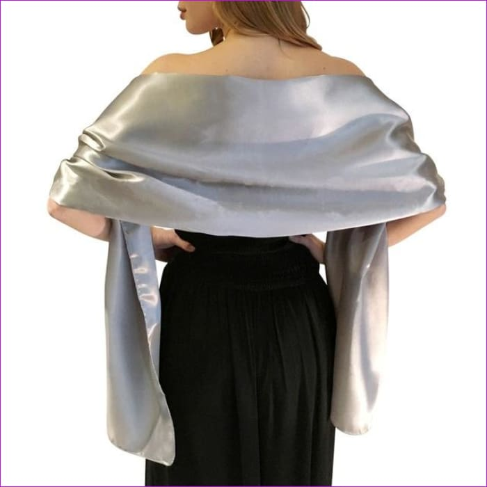Satin Shawl Scarf for Evening Dresses 178*46 cm Long Colorful Shawls and Wraps - Gray / One Size / Adult - Scarves cf-color-beige
