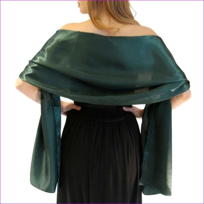 Satin Shawl Scarf for Evening Dresses 178*46 cm Long Colorful Shawls and Wraps - Green / One Size / Adult - Scarves cf-color-beige
