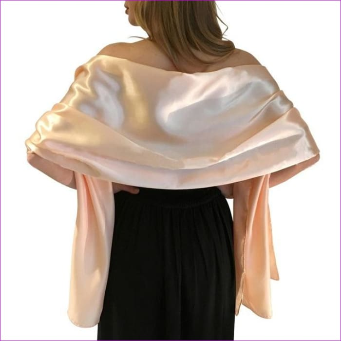 Satin Shawl Scarf for Evening Dresses 178*46 cm Long Colorful Shawls and Wraps - Ivory / One Size / Adult - Scarves cf-color-beige