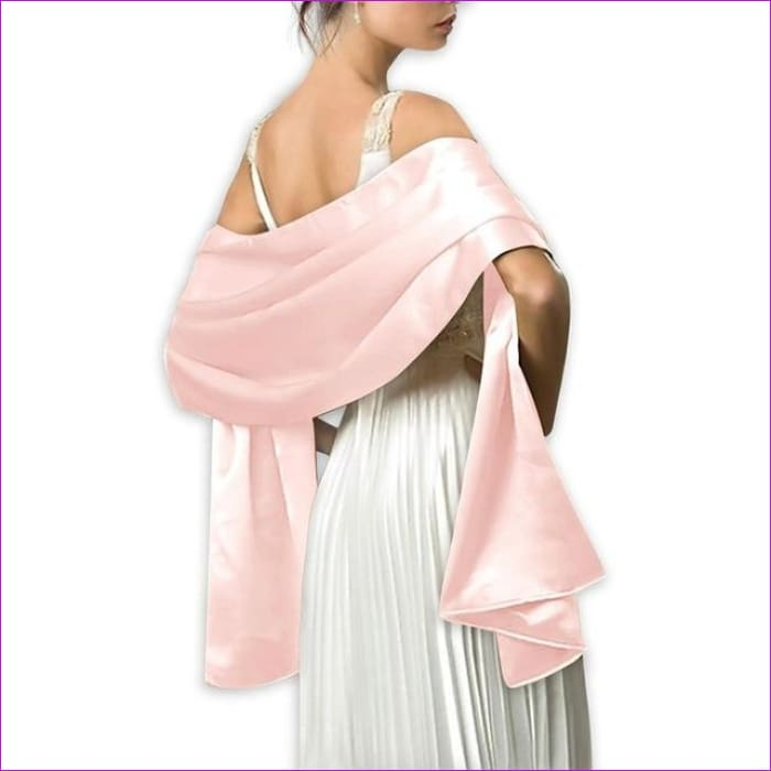 Satin Shawl Scarf for Evening Dresses 178*46 cm Long Colorful Shawls and Wraps - Pink / One Size / Adult - Scarves cf-color-beige