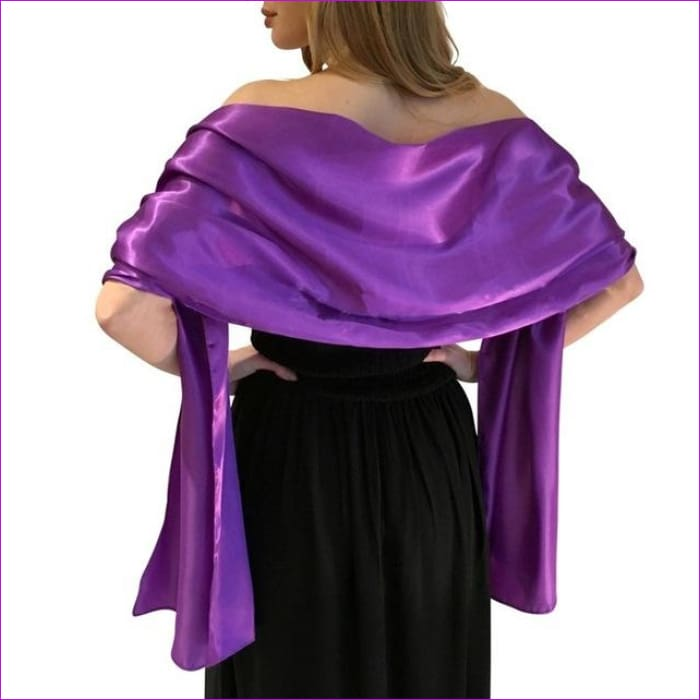 Satin Shawl Scarf for Evening Dresses 178*46 cm Long Colorful Shawls and Wraps - Purple / One Size / Adult - Scarves cf-color-beige