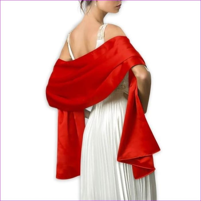 Satin Shawl Scarf for Evening Dresses 178*46 cm Long Colorful Shawls and Wraps - Red / One Size / Adult - Scarves cf-color-beige