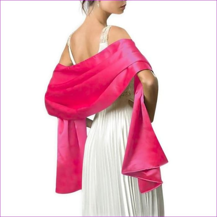 Satin Shawl Scarf for Evening Dresses 178*46 cm Long Colorful Shawls and Wraps - Rose Red / One Size / Adult - Scarves cf-color-beige