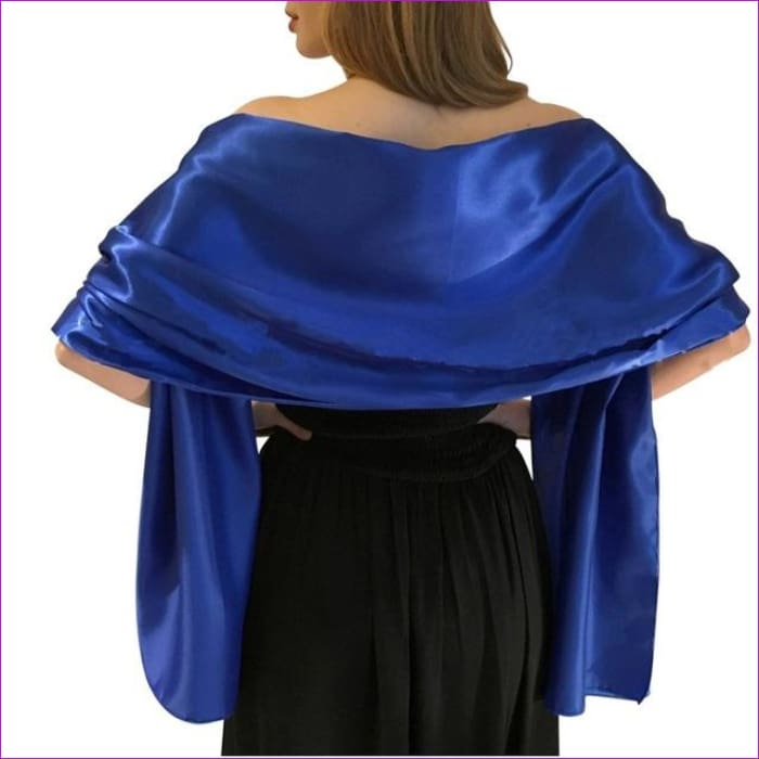 Satin Shawl Scarf for Evening Dresses 178*46 cm Long Colorful Shawls and Wraps - Royal Blue / One Size / Adult - Scarves cf-color-beige