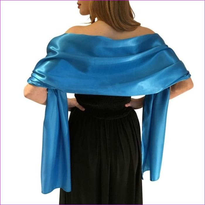 Satin Shawl Scarf for Evening Dresses 178*46 cm Long Colorful Shawls and Wraps - Sky Blue / One Size / Adult - Scarves cf-color-beige