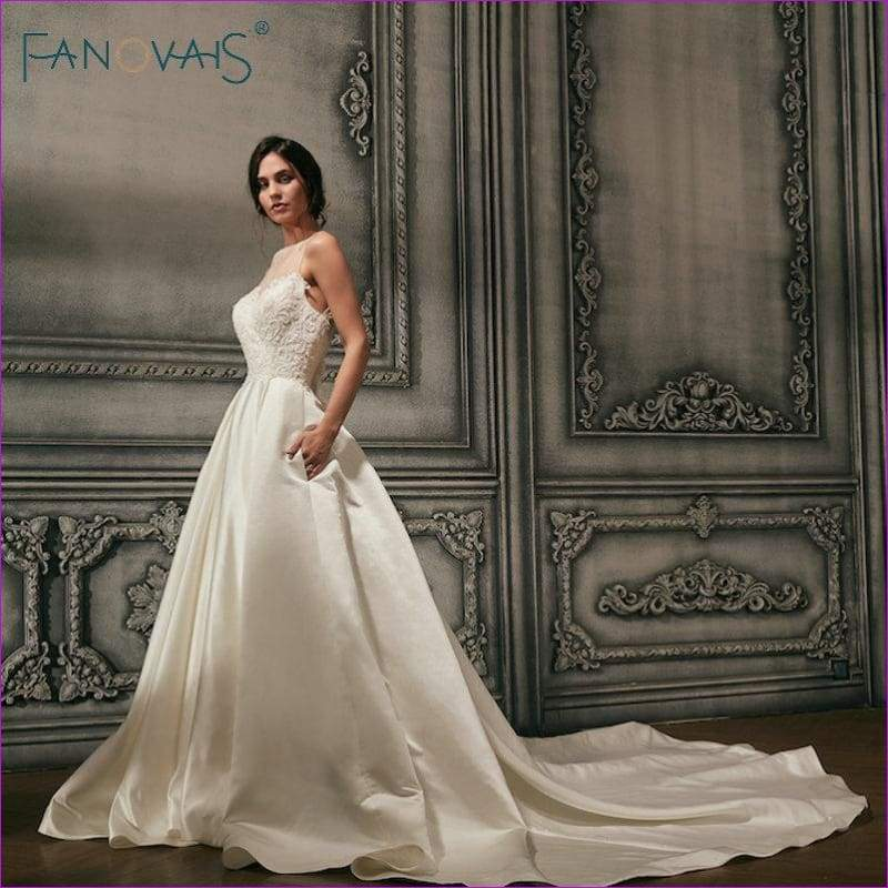 Satin Wedding Dresses Beads Illusion Neck Bridal Gowns Long Track Backless - Bridal Dresses