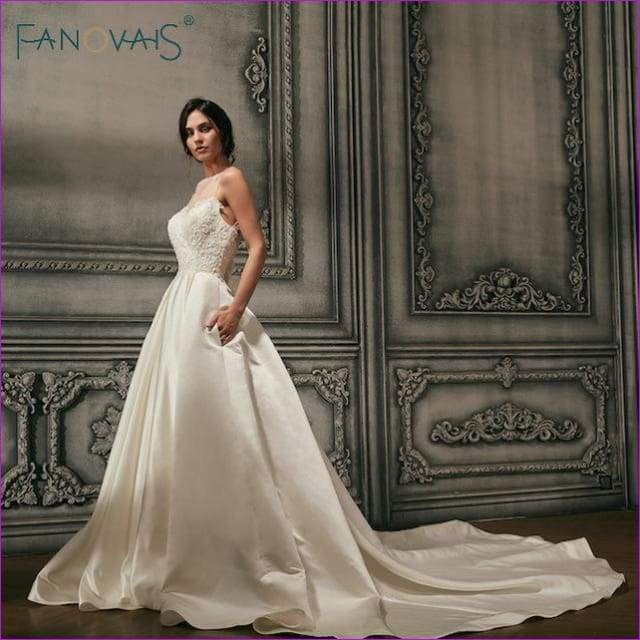 Satin Wedding Dresses Beads Illusion Neck Bridal Gowns Long Track Backless - Ivory / 6 - Bridal Dresses