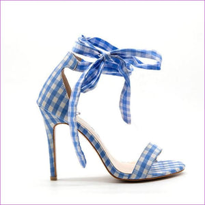 Scottish Plaid High Sandals Cross-Tied Heels Ankle Strap Lace Up Party Bow High Shoes - Blue / 5.5 - Sandals cf-color-black cf-color-blue