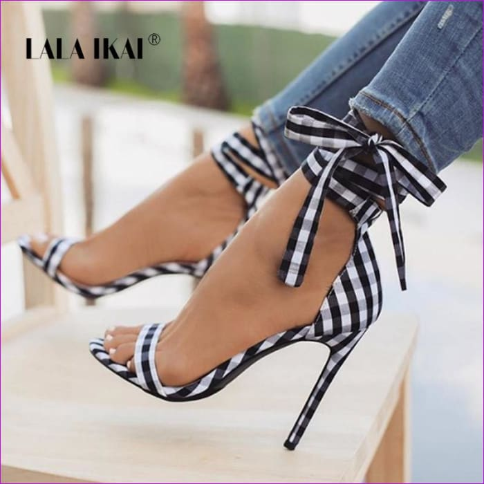 Scottish Plaid High Sandals Cross-Tied Heels Ankle Strap Lace Up Party Bow High Shoes - Sandals cf-color-black cf-color-blue cf-color-red