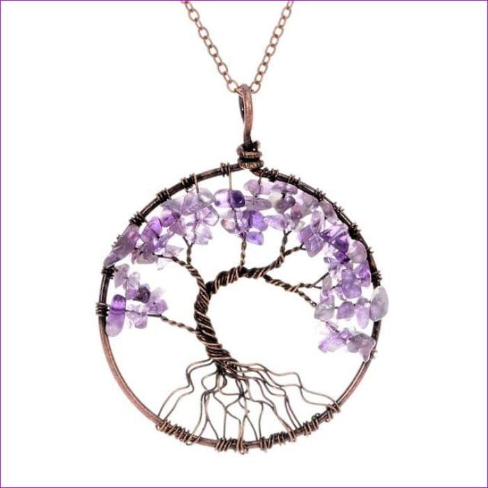 SEDmart 7 Chakra Tree Of Life Pendant Necklace Copper Crystal Natural Stone Necklace Women Christmas Gift - Amethyst - Pendants Pendants