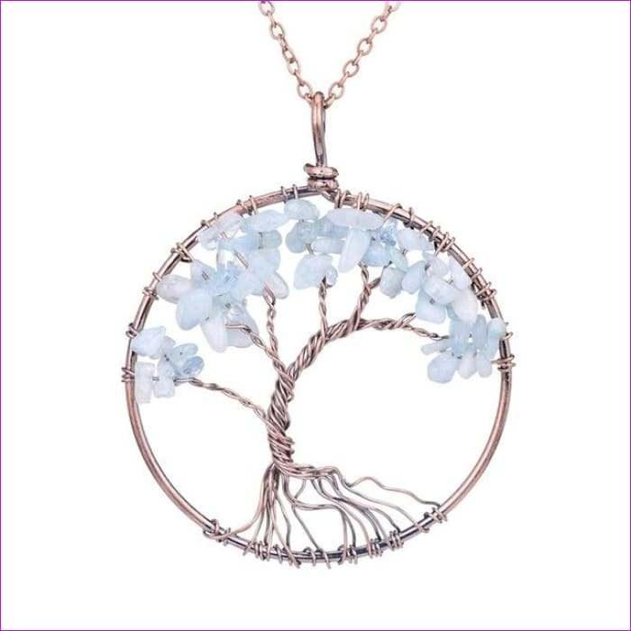 SEDmart 7 Chakra Tree Of Life Pendant Necklace Copper Crystal Natural Stone Necklace Women Christmas Gift - Aquamarine - Pendants Pendants