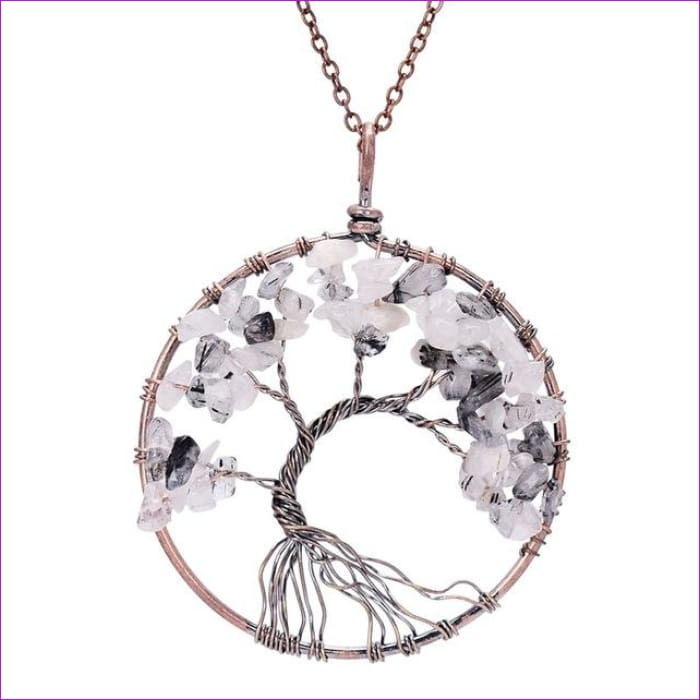 SEDmart 7 Chakra Tree Of Life Pendant Necklace Copper Crystal Natural Stone Necklace Women Christmas Gift - Black Rutilated Quar - Pendants