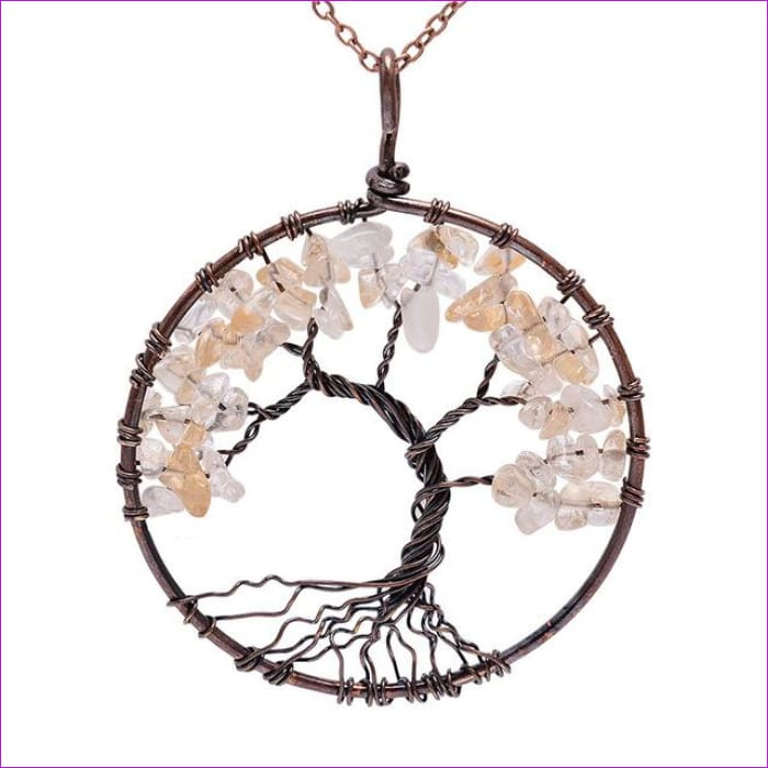 SEDmart 7 Chakra Tree Of Life Pendant Necklace Copper Crystal Natural Stone Necklace Women Christmas Gift - Citrine - Pendants Pendants