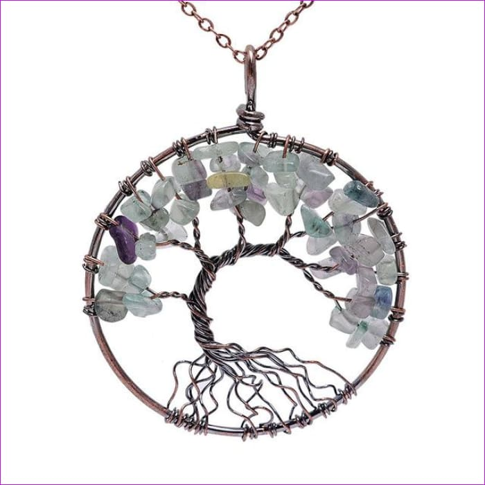 SEDmart 7 Chakra Tree Of Life Pendant Necklace Copper Crystal Natural Stone Necklace Women Christmas Gift - Fluorite - Pendants Pendants