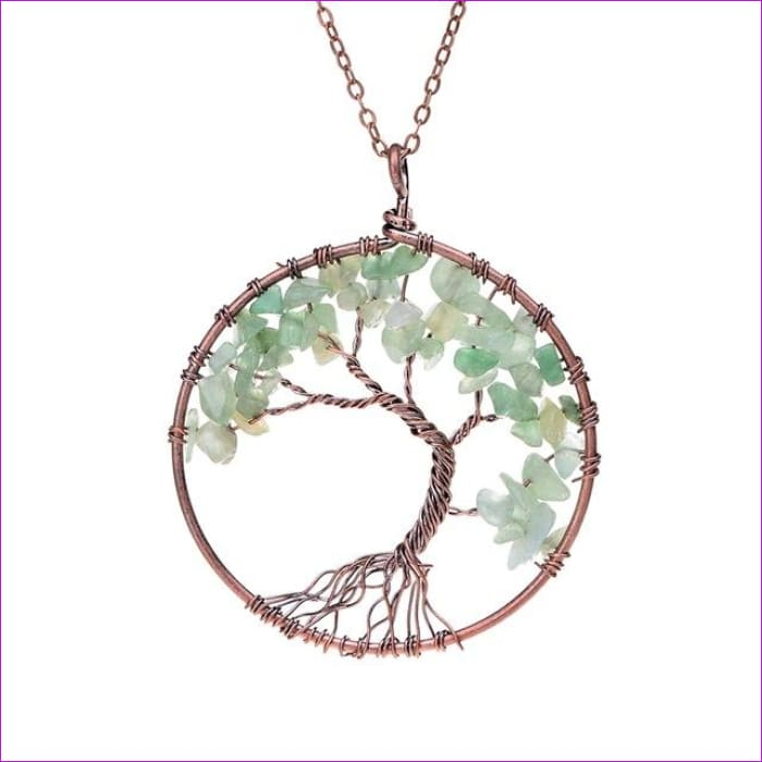 SEDmart 7 Chakra Tree Of Life Pendant Necklace Copper Crystal Natural Stone Necklace Women Christmas Gift - Green aventurine - Pendants