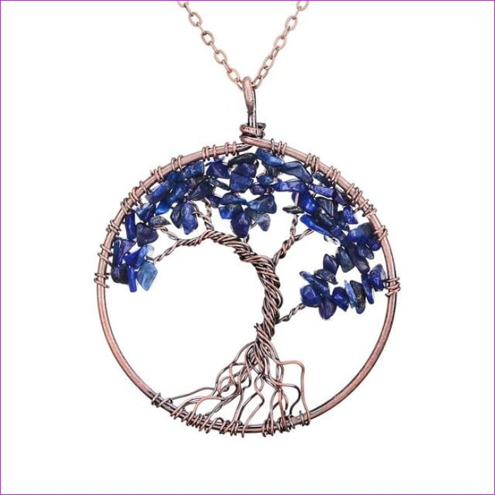 SEDmart 7 Chakra Tree Of Life Pendant Necklace Copper Crystal Natural Stone Necklace Women Christmas Gift - Lapis lazuli - Pendants Pendants