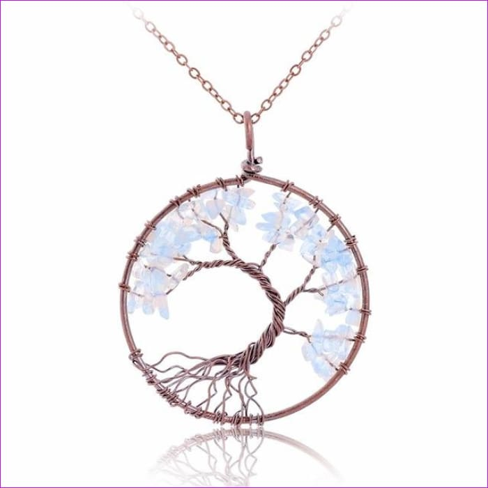SEDmart 7 Chakra Tree Of Life Pendant Necklace Copper Crystal Natural Stone Necklace Women Christmas Gift - Opal - Pendants Pendants