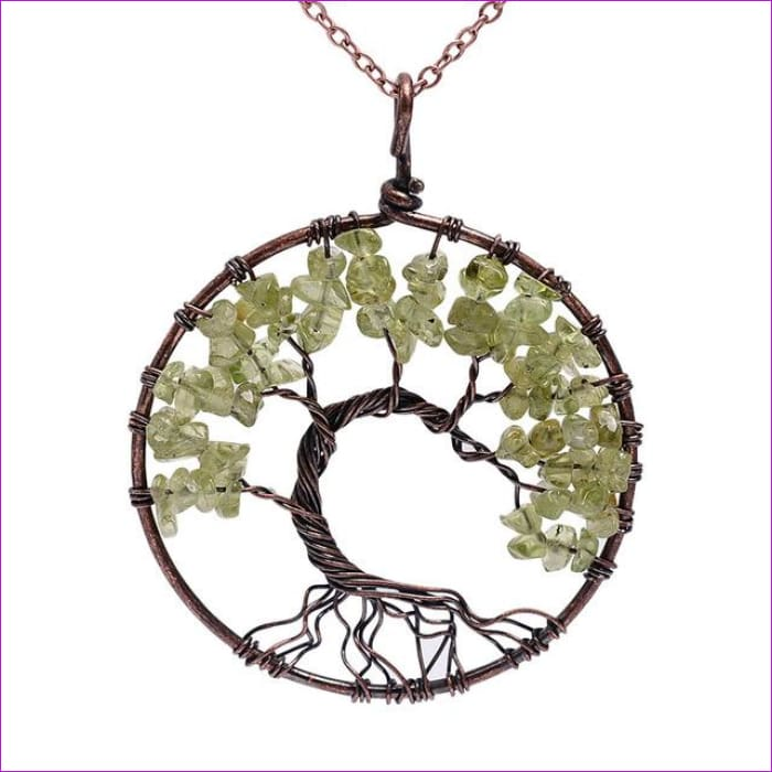 SEDmart 7 Chakra Tree Of Life Pendant Necklace Copper Crystal Natural Stone Necklace Women Christmas Gift - Peridot - Pendants Pendants