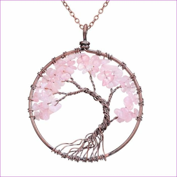 SEDmart 7 Chakra Tree Of Life Pendant Necklace Copper Crystal Natural Stone Necklace Women Christmas Gift - Pink Crystal - Pendants Pendants