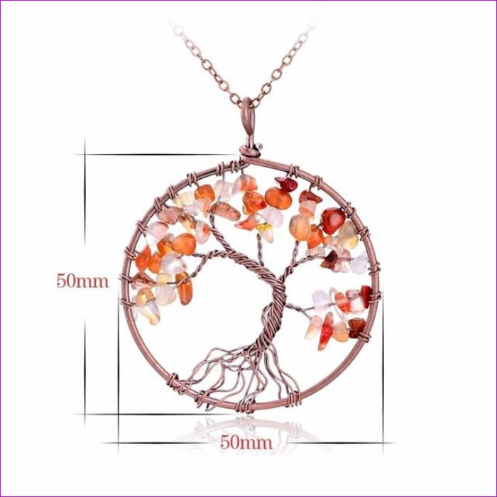 SEDmart 7 Chakra Tree Of Life Pendant Necklace Copper Crystal Natural Stone Necklace Women Christmas Gift - Red Agate - Pendants Pendants