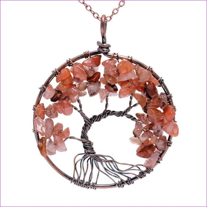 SEDmart 7 Chakra Tree Of Life Pendant Necklace Copper Crystal Natural Stone Necklace Women Christmas Gift - Red Stone - Pendants Pendants