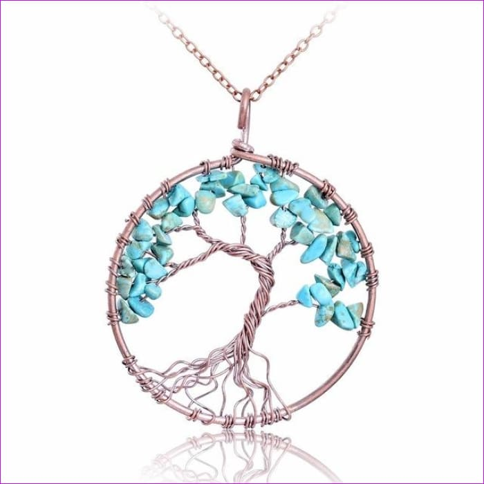 SEDmart 7 Chakra Tree Of Life Pendant Necklace Copper Crystal Natural Stone Necklace Women Christmas Gift - Turquoise - Pendants Pendants