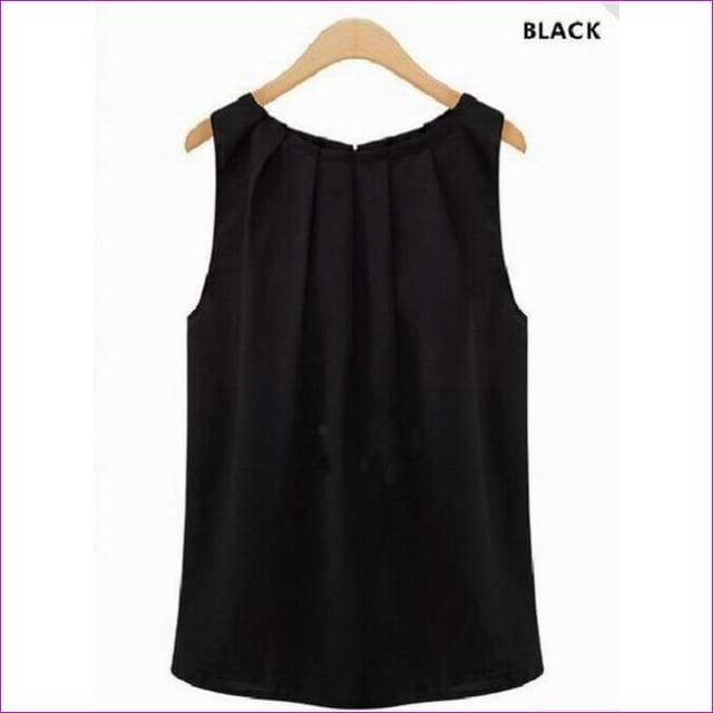 Sexy Chiffon Blouse Solid Women sleeveless Spring summer style Shirt Tops Blouses Casual Clothing - Black / S - Tops
