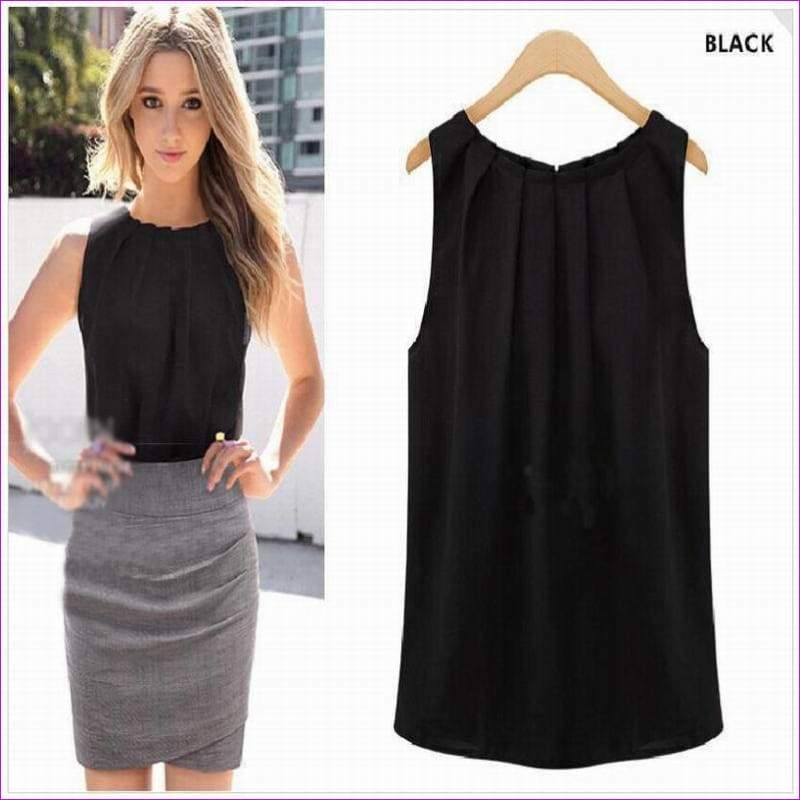 Sexy Chiffon Blouse Solid Women sleeveless Spring summer style Shirt Tops Blouses Casual Clothing - Tops