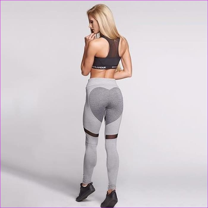 Sexy Heart High Waist Leggings Women Work Out Leggings Push Up Leggins - Gray / L - Leggings Leggings