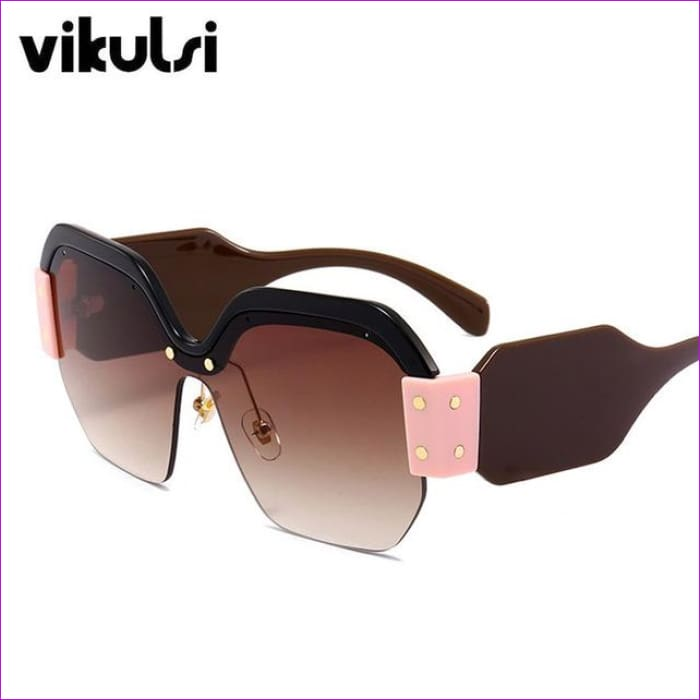Sexy Rimless Oversized Sunglasses Women Vintage 2018 Red Pink Luxury Brand Sun Glasses For Female Rivet Big Frame Male Shades - D325 black