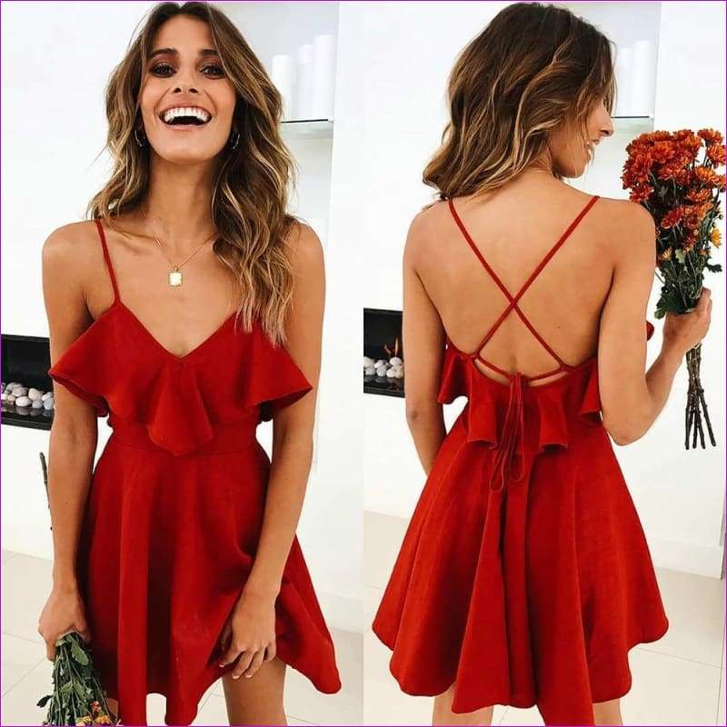 Sexy Sleeveless Backless Cross Spaghetti Strap Dresses For Women - L / red - Sexy Dresses