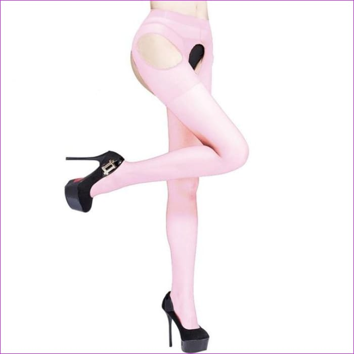 Sexy Women Crotchless Pantyhose Woman Open Crotch Tights Fetish Collant Femme Collants Ouvert Hosiery Donna Strumpfhose - Pink - Crotchless