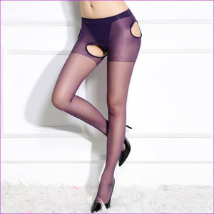 Sexy Women Crotchless Pantyhose Woman Open Crotch Tights Fetish Collant Femme Collants Ouvert Hosiery Donna Strumpfhose - Purple -