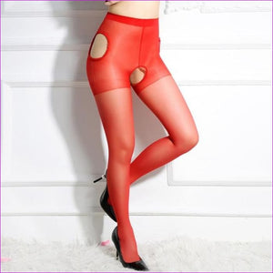 Sexy Women Crotchless Pantyhose Woman Open Crotch Tights Fetish Collant Femme Collants Ouvert Hosiery Donna Strumpfhose - Red - Crotchless