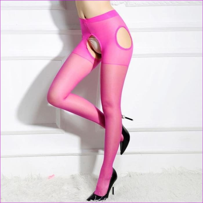 Sexy Women Crotchless Pantyhose Woman Open Crotch Tights Fetish Collant Femme Collants Ouvert Hosiery Donna Strumpfhose - Rose - Crotchless