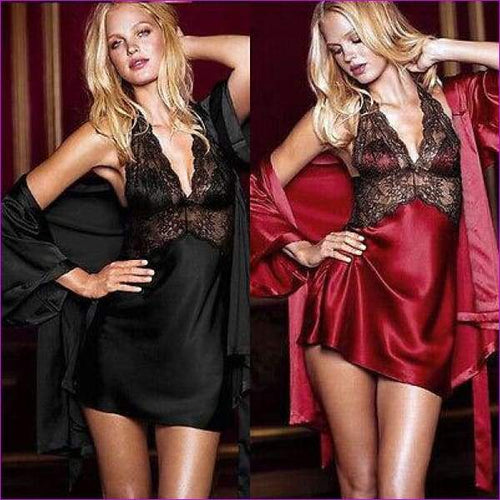 Sexy Women Lace Silk Robe Dress Ladies Nightgown Bathrobe Sleepwear 2PC - Rob & Gown sets