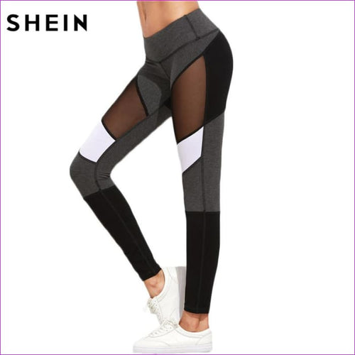 SHEIN Casual Leggings Women Fitness Leggings Color Block Autumn Winter Workout Pants New Arrival Mesh Insert Leggings - Leggings