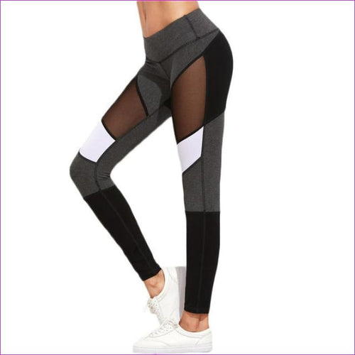 SHEIN Casual Leggings Women Fitness Leggings Color Block Autumn Winter Workout Pants New Arrival Mesh Insert Leggings - Multi / XS -