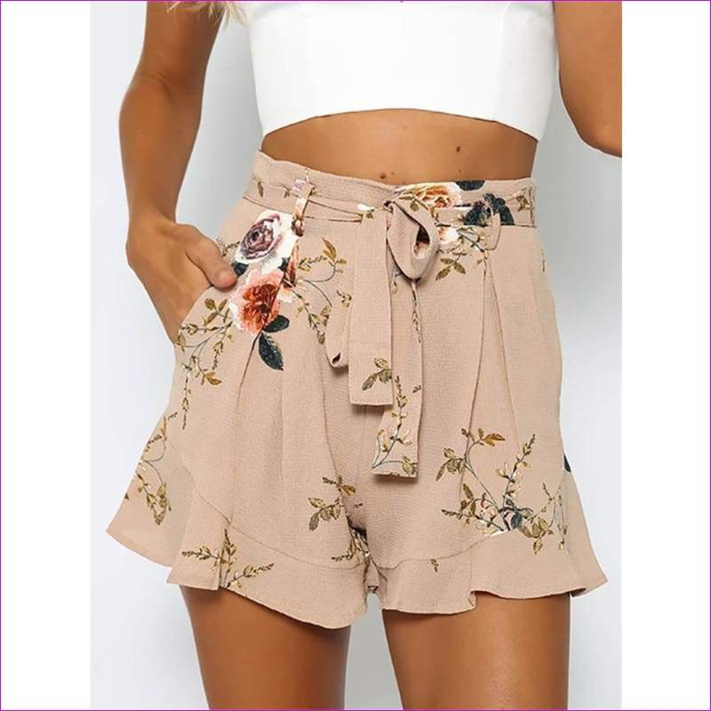 shorts women floral print short femme 2018 new summer style hot loose belt casual thin mid casual short womens plus size - Shorts