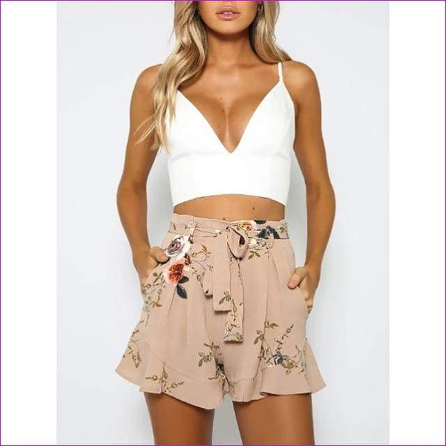shorts women floral print short femme 2018 new summer style hot loose belt casual thin mid casual short womens plus size - Pink / S - Shorts