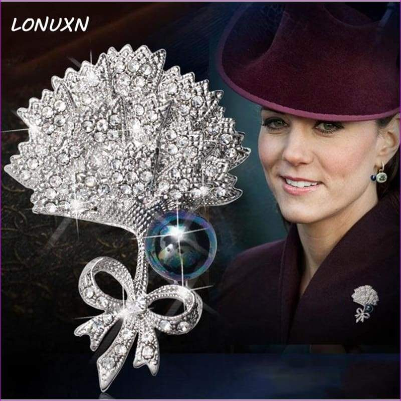 Silver 57mm*42mm Brooches leaf pearl Flowers Brooch pins Simple design for women - Brooch