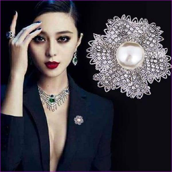 Silver 57mm*42mm Brooches leaf pearl Flowers Brooch pins Simple design for women - see chart 2 - Brooch