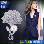 Silver 57mm*42mm Brooches leaf pearl Flowers Brooch pins Simple design for women - see chart 3 - Brooch